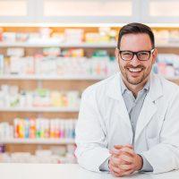 Portrait of cheerful male pharmacist.